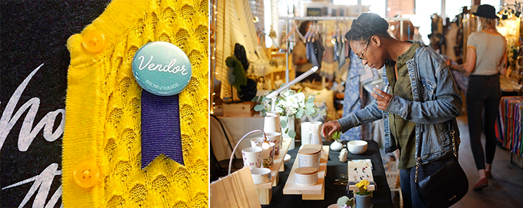 right : Jenny from  Three Letter Birds  showing off her Vendor Badge //  left : a shopper browsing  FuzedProducts  booth (Spring 2018)