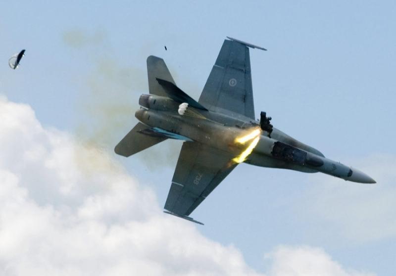 Pilot ejects.