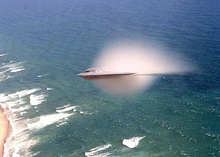 Not a cloud, not Photoshop, but the Prandtl-Glauert singularity demonstrated by a B-2 nearing the speed of sound
