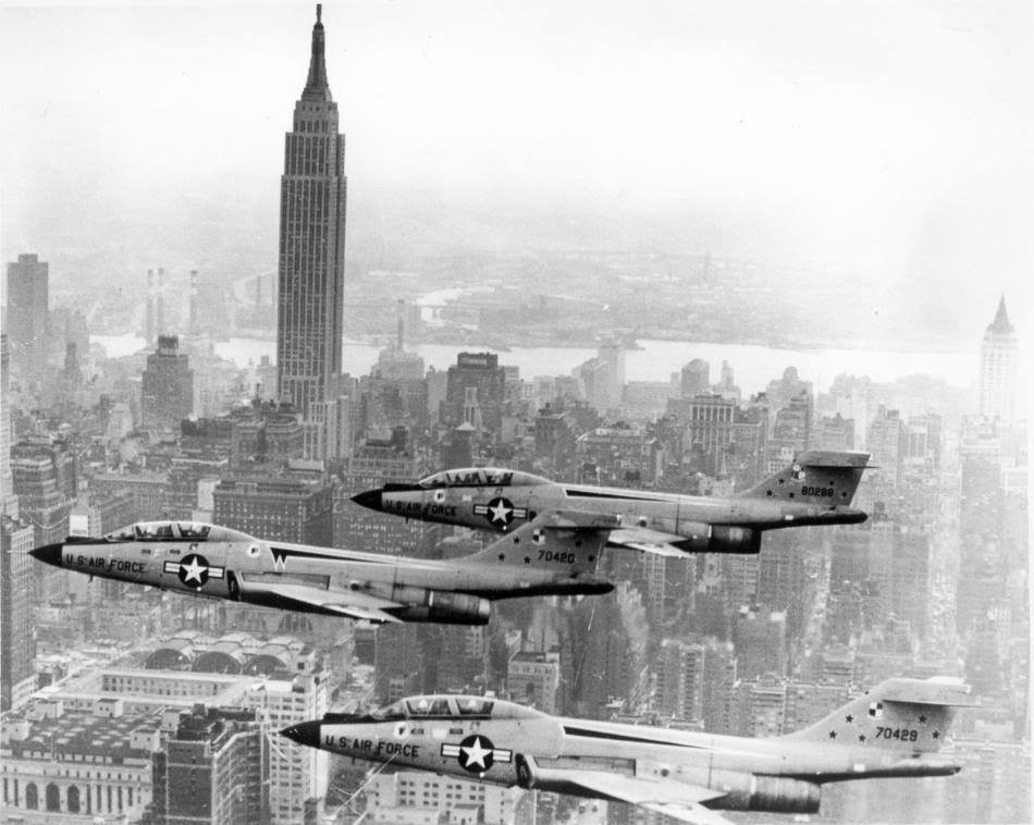 F-101 Voodoos in NYC. Is it the drink I had with dinner, or is the Empire State Building leaning to the right?