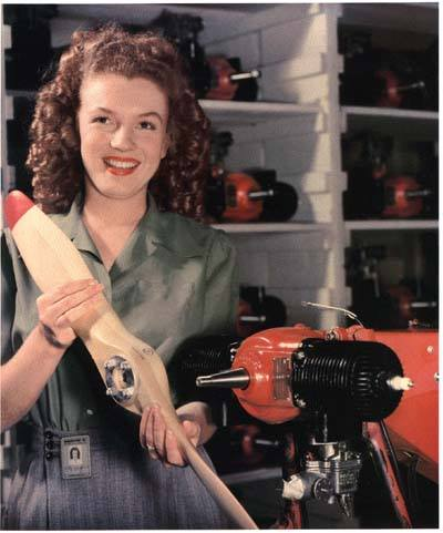 "Recognize the assembly worker in this 1944 RadioPlane Munitions factory photo? Hint: She went on to star in ""Gentlemen Prefer Blondes.""."