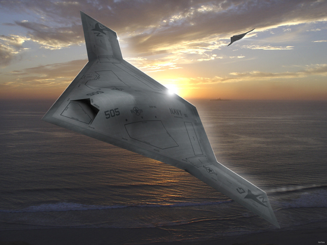 X-47B, possibly rendered. Art either way