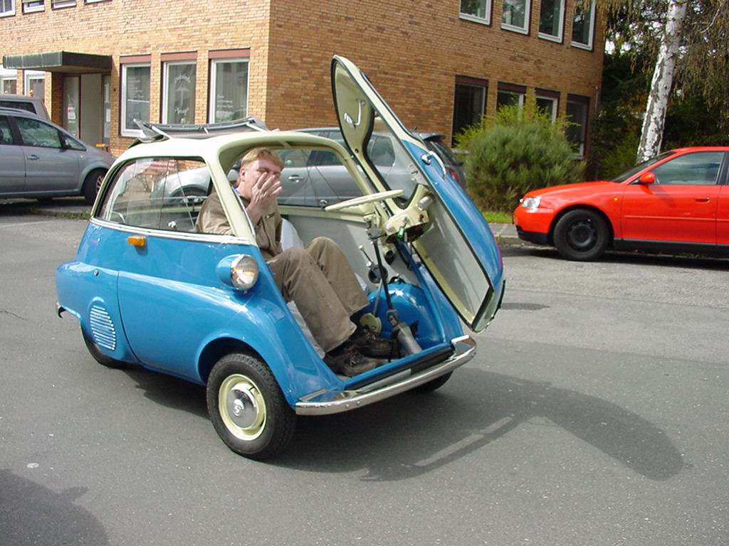 BMW's Isetta, the top-selling single-cylinder car in the world—161,728 units sold in '55. Still around, they get 90 mpg.