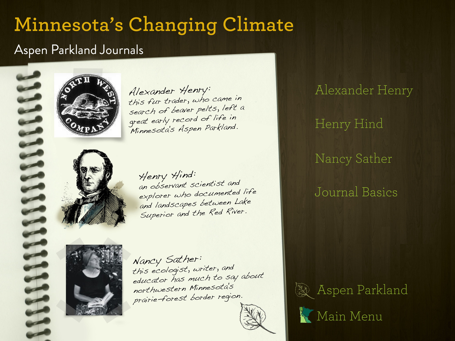 Minnesota's Changing Climate Multimedia Classroom - Aspen Parkland Journal entries