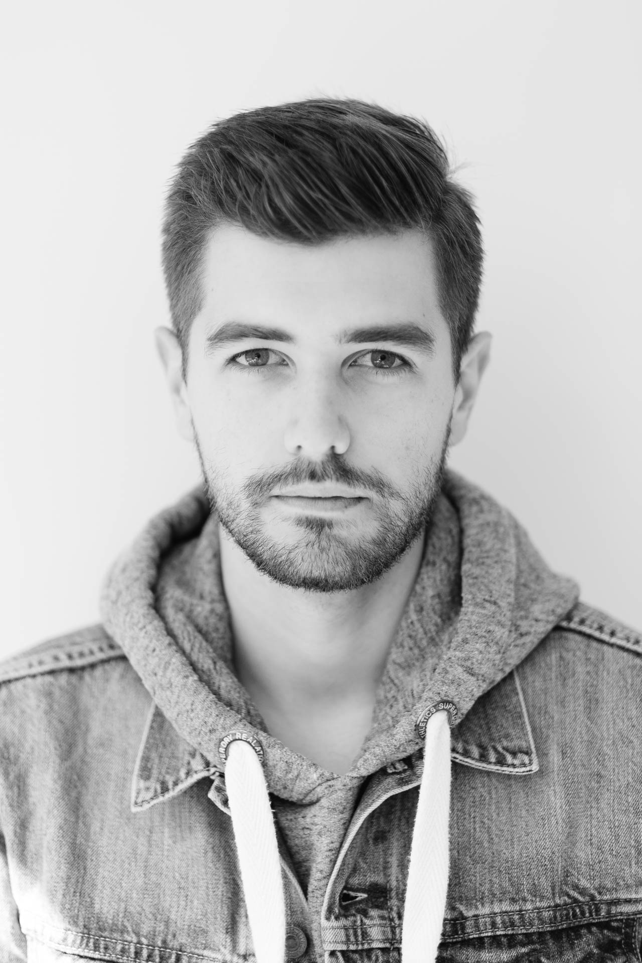 Copy of Jonathan Grado in Denim Jacket and Hoodie Black and white