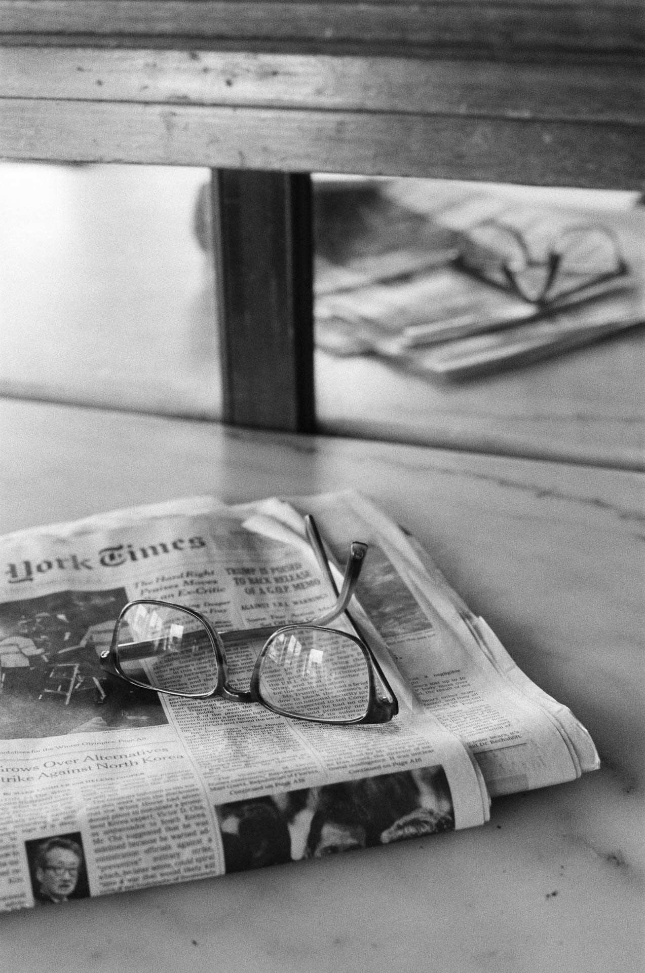 Smith Canteen Glasses and Newspaper