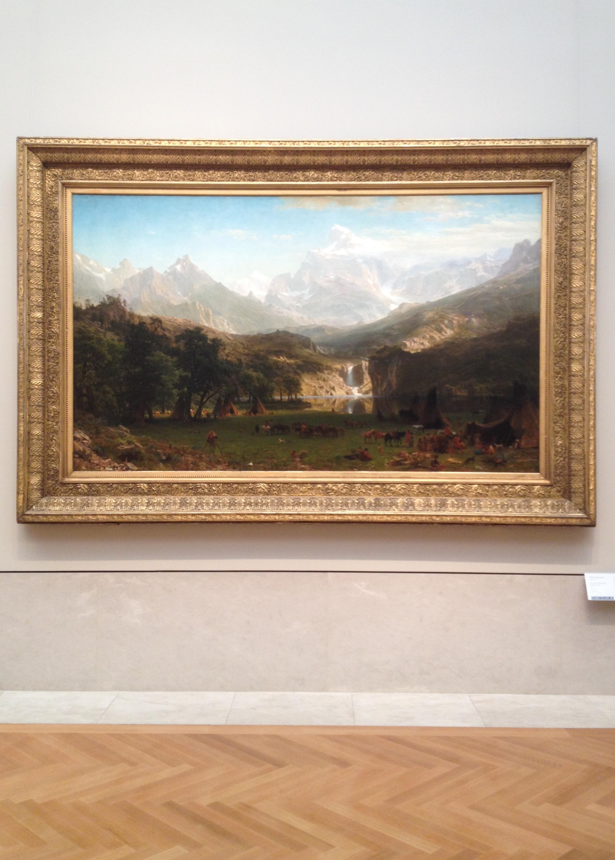Albert Bierstadt: Rocky Mountains, Lander's Peak, 1863, Öl auf Leinwand, Maße: 186,7 cm x 306,7 cm, Metropolitan Museum of Art, New York City. Leider hat mein Smartphone sich dazu entschieden die Linien zu verzerren. Foto: Henry Weidemann
