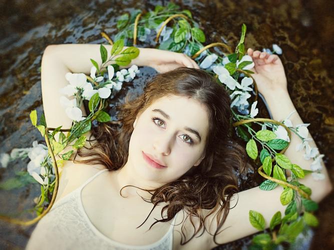 natural outdoor water senior portrait