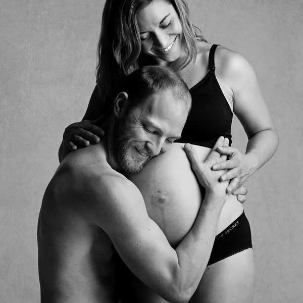 romantic black and white maternity photography