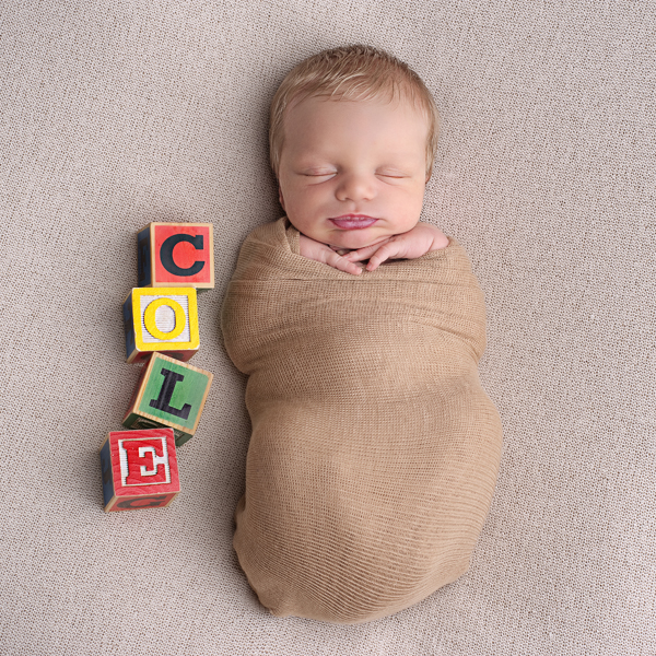sweet baby with name in blocks photo