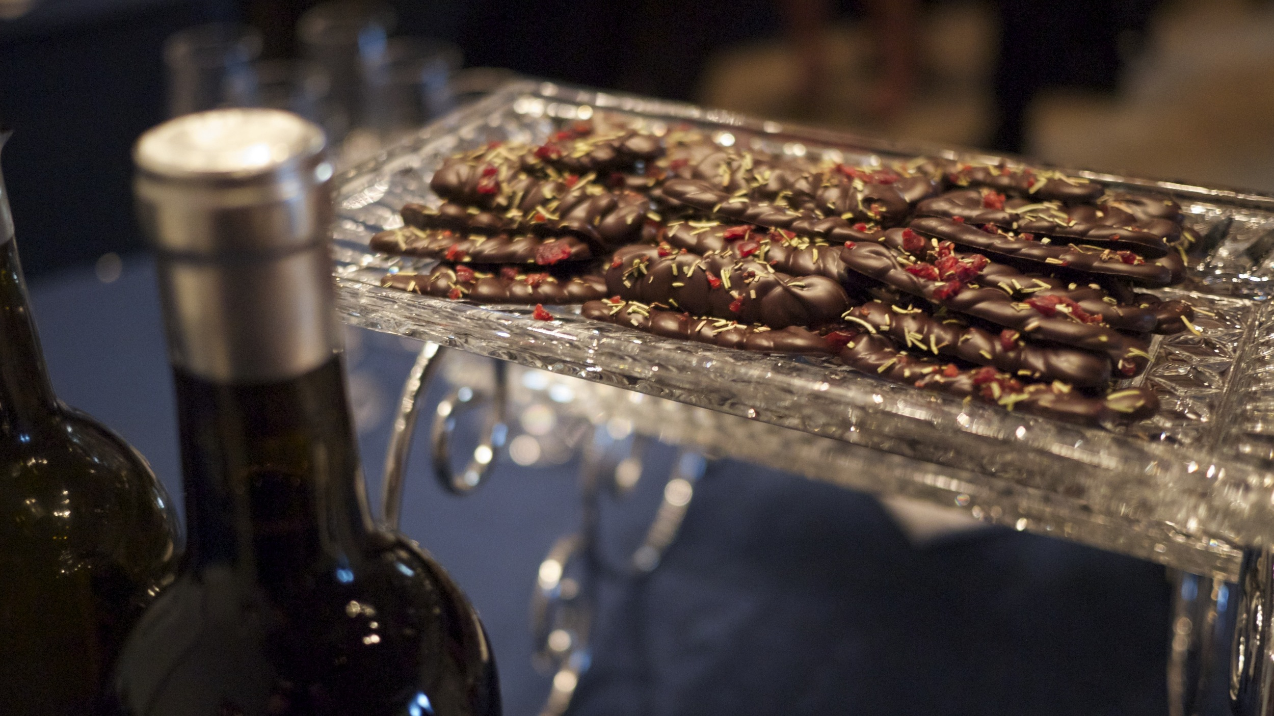 Chocolate Pairing Station  - Chocolate is perfect for Wine, Scotch and Tea pairings! We bring in expert Sommeliers from each medium to create the ultimate pairing experience.