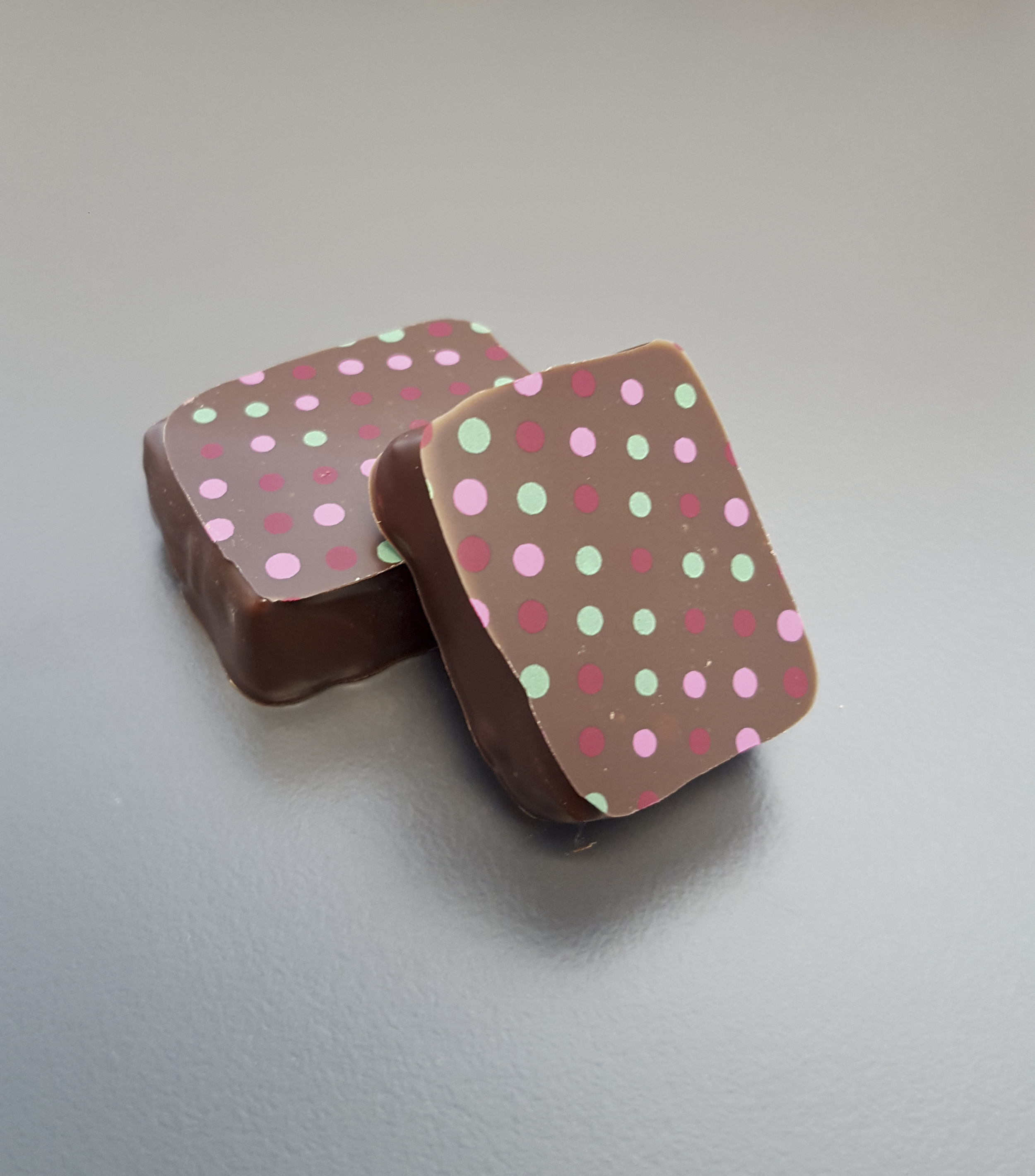 Salted Caramel  - 54% Dark chocolate combined with caramel pieces and sea salt
