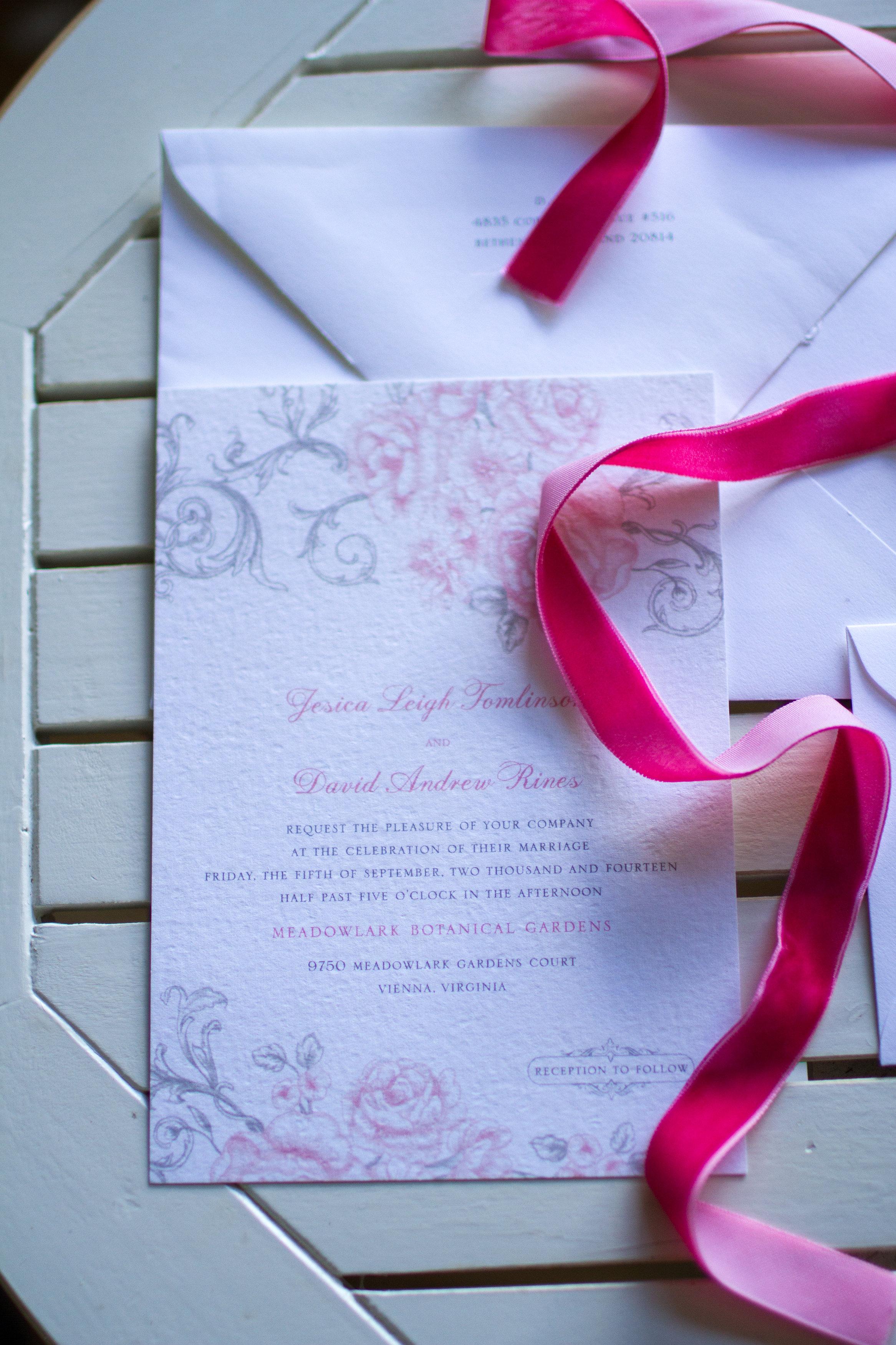 Wedding invitation suite Meadowlark Botanical Garden Wedding