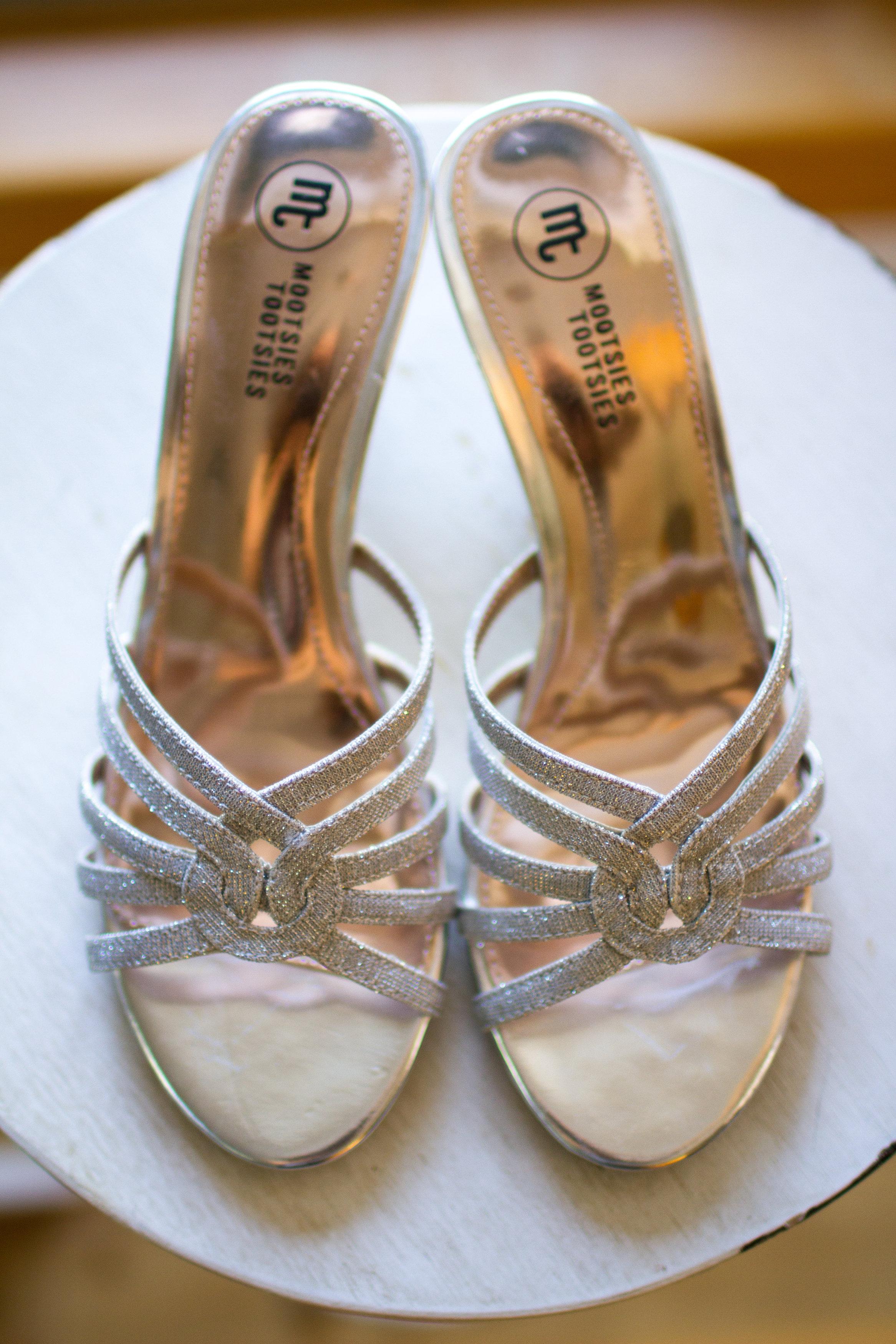 Sparkly wedding shoes Meadowlark Botanical Garden Wedding