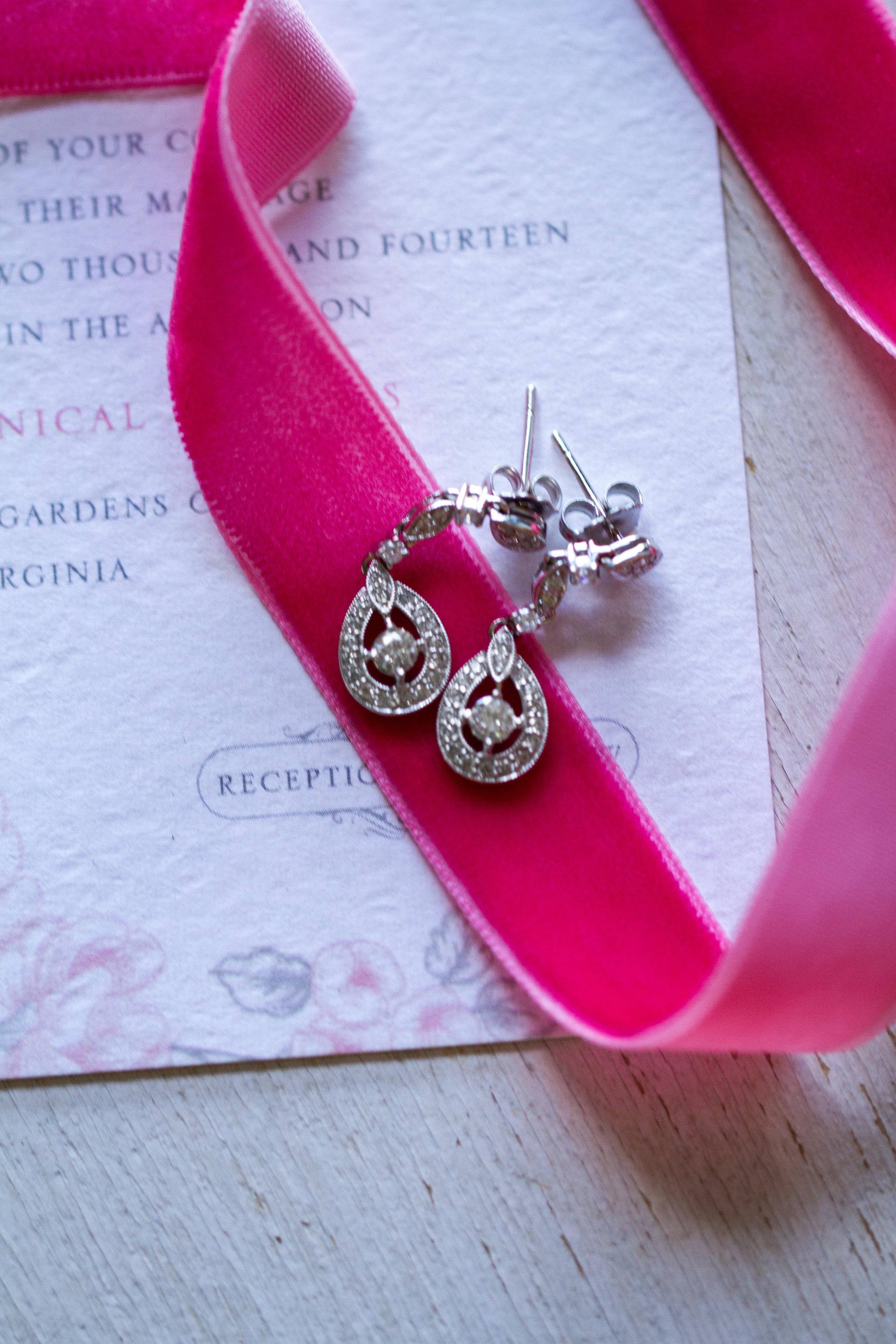 Diamond wedding earrings Meadowlark Botanical Garden Wedding