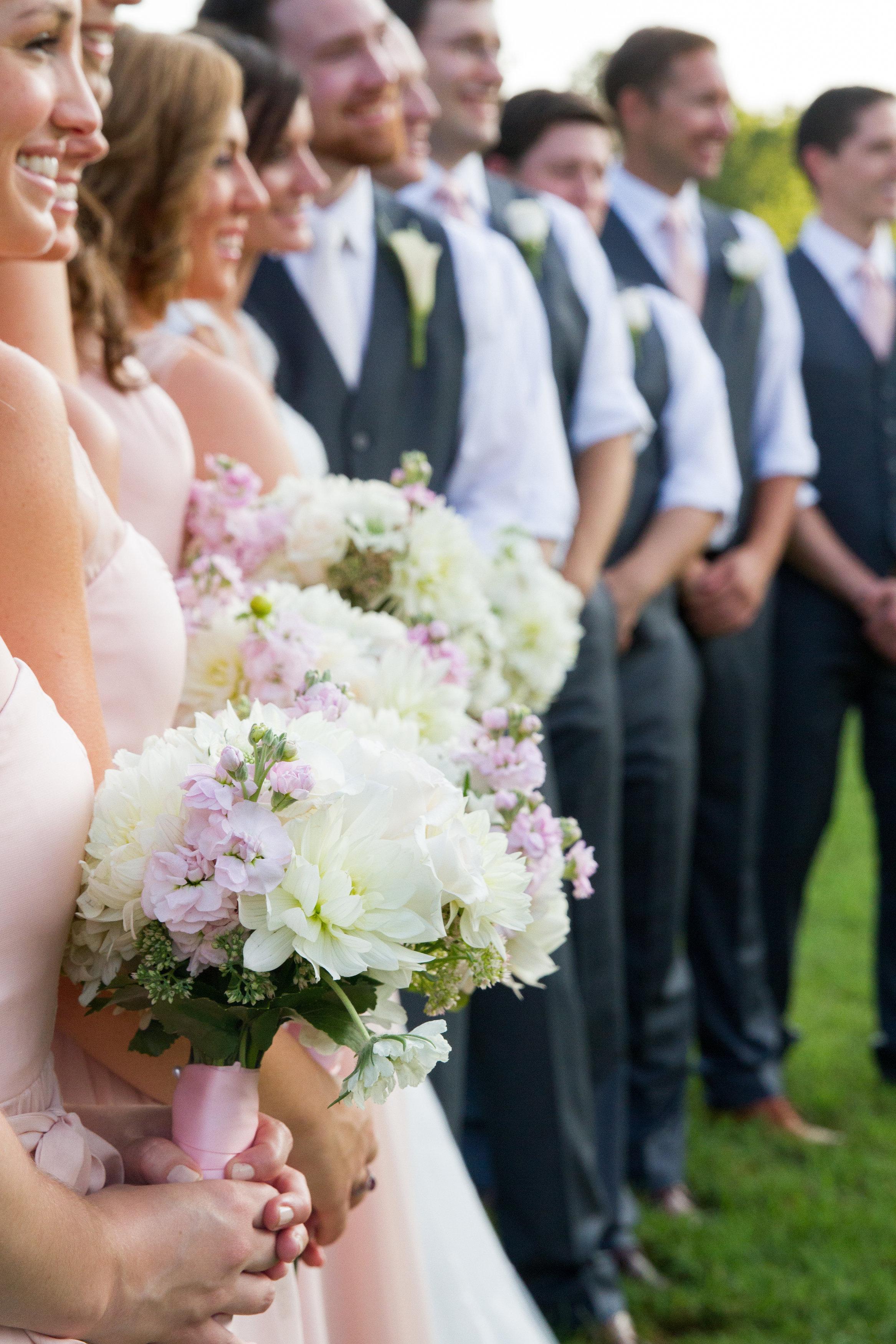 Pastel bridal party Meadowlark Botanical Garden Wedding