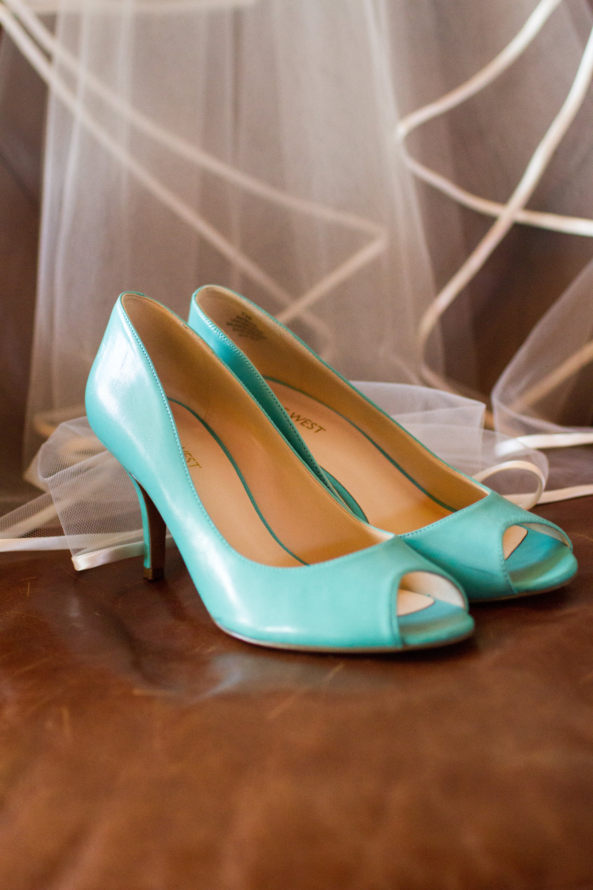 Turquoise Nine West wedding heels