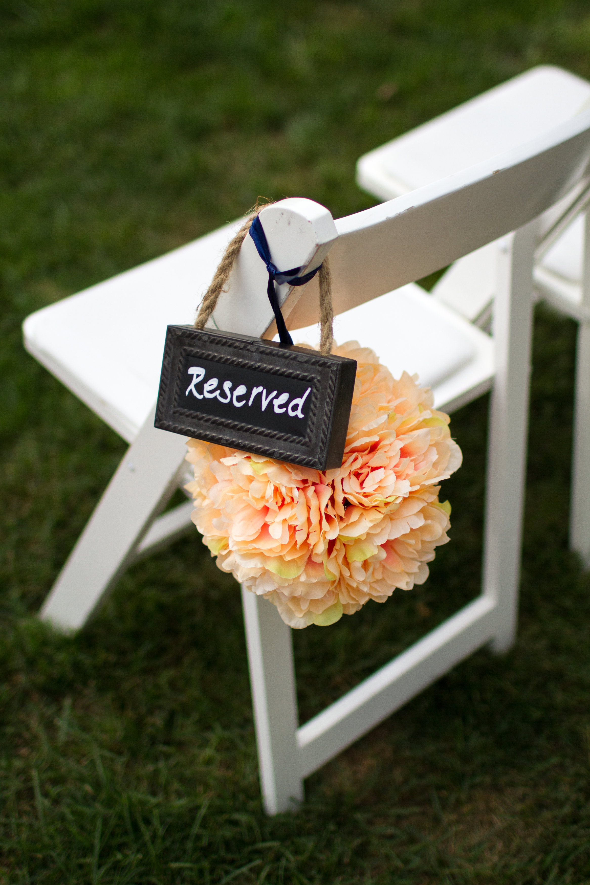Chalkboard reserved ceremony sign