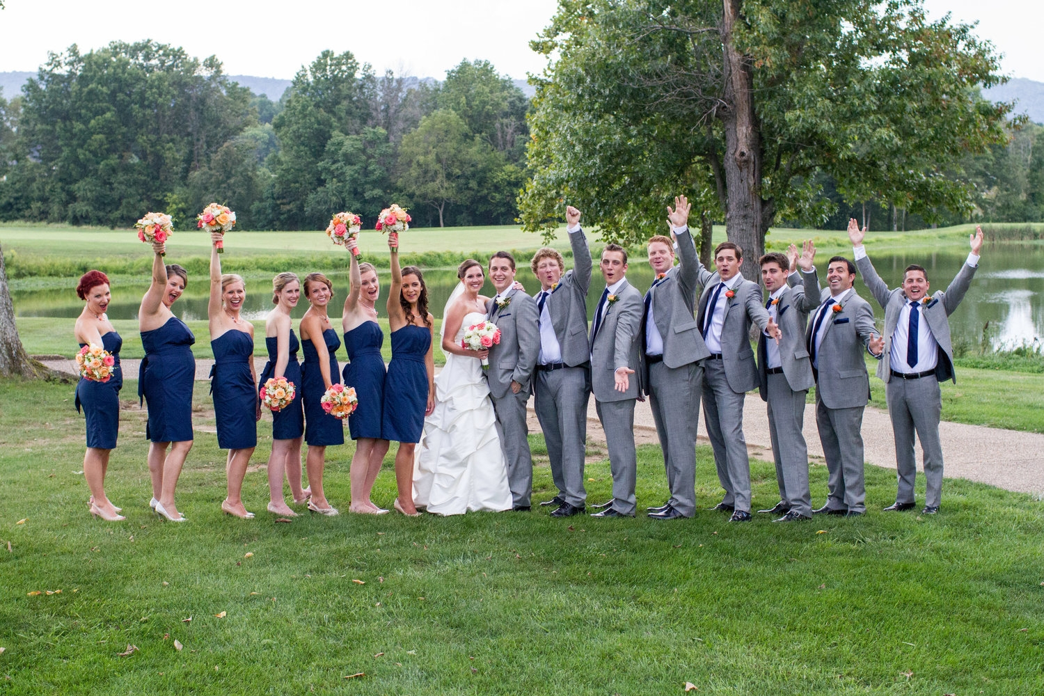 Navy and coral bridal party
