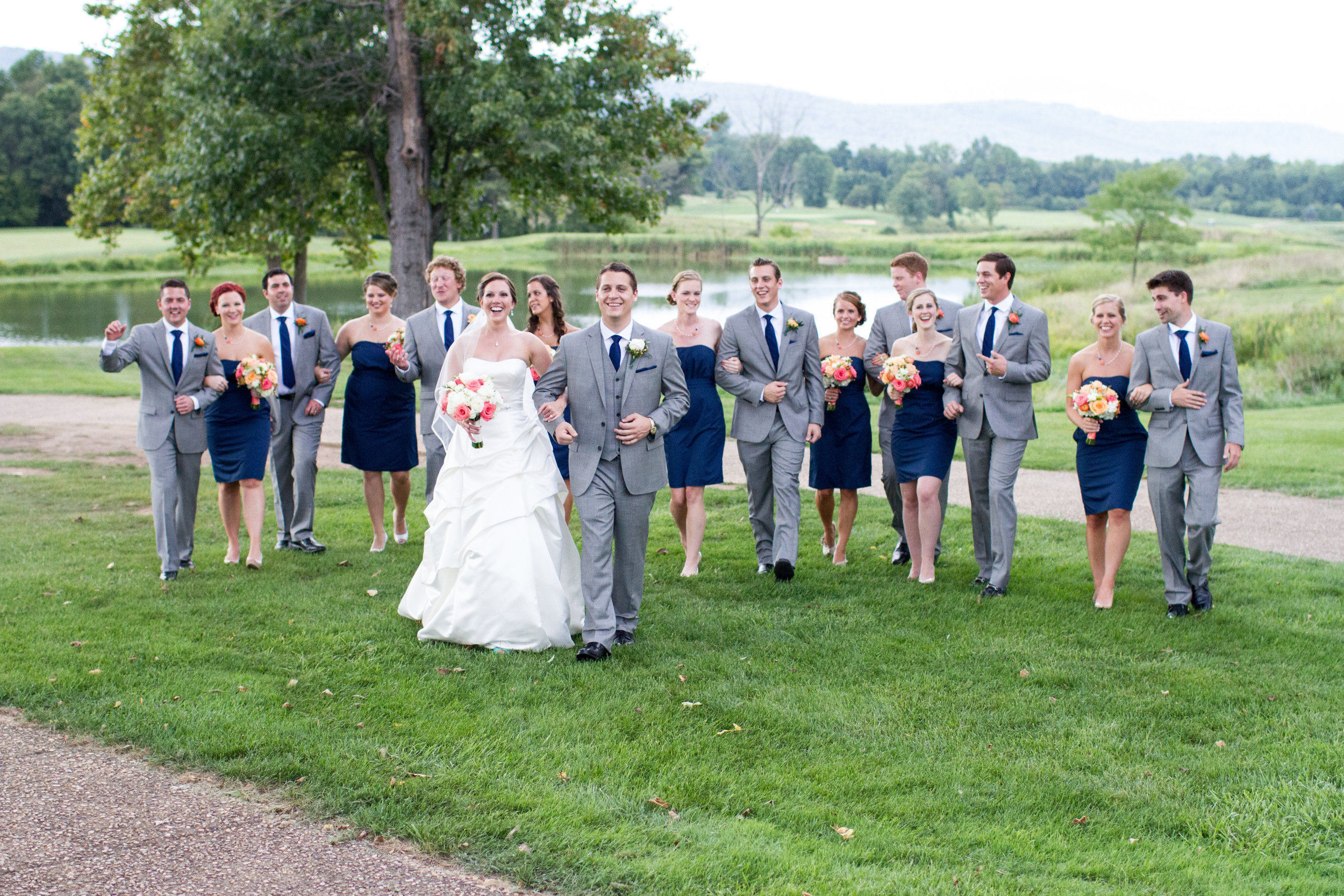 Grey and navy bridal party | Bull Run Golf Club wedding