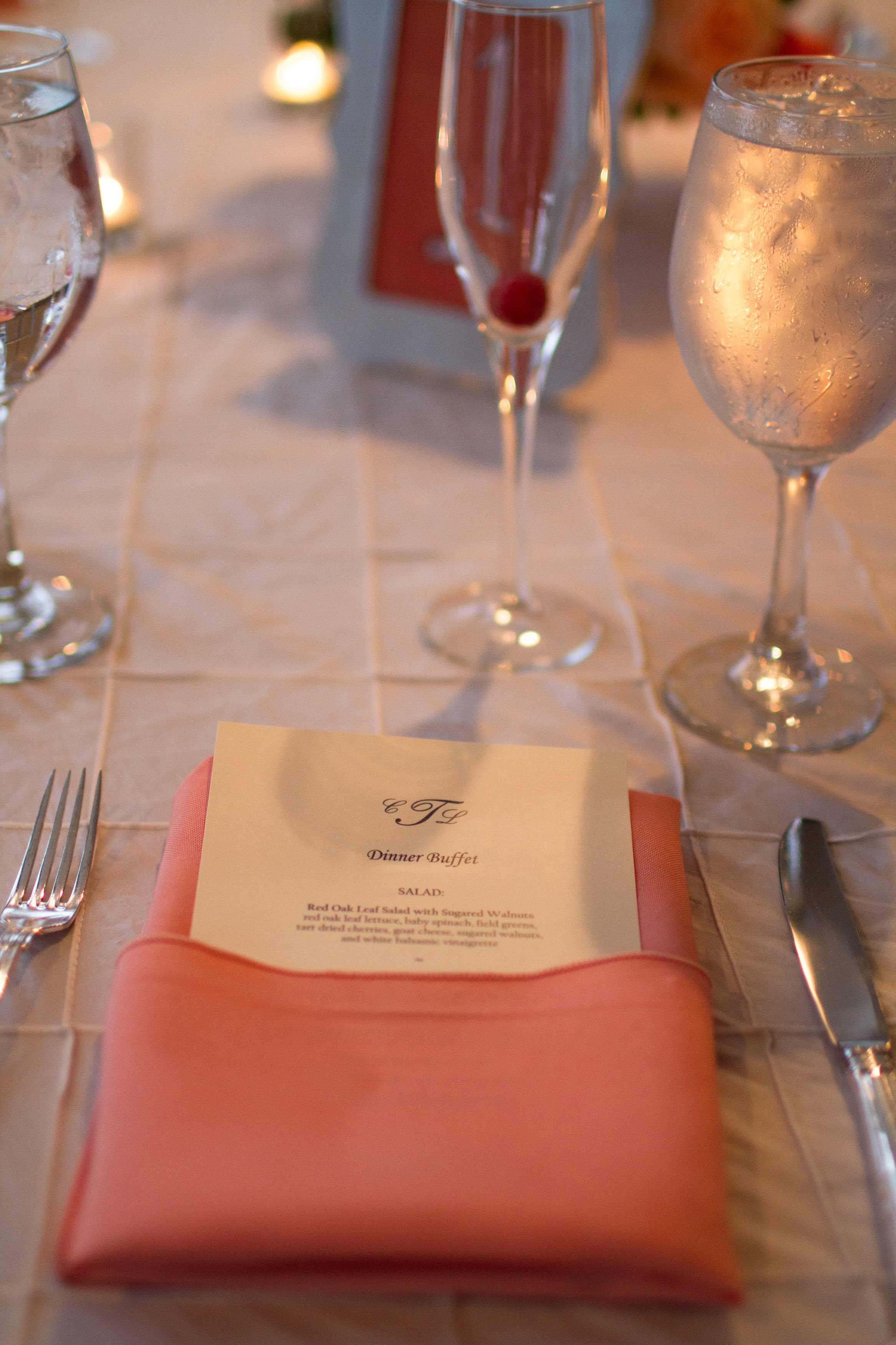 Coral wedding tablescape | Bull Run Golf Club wedding