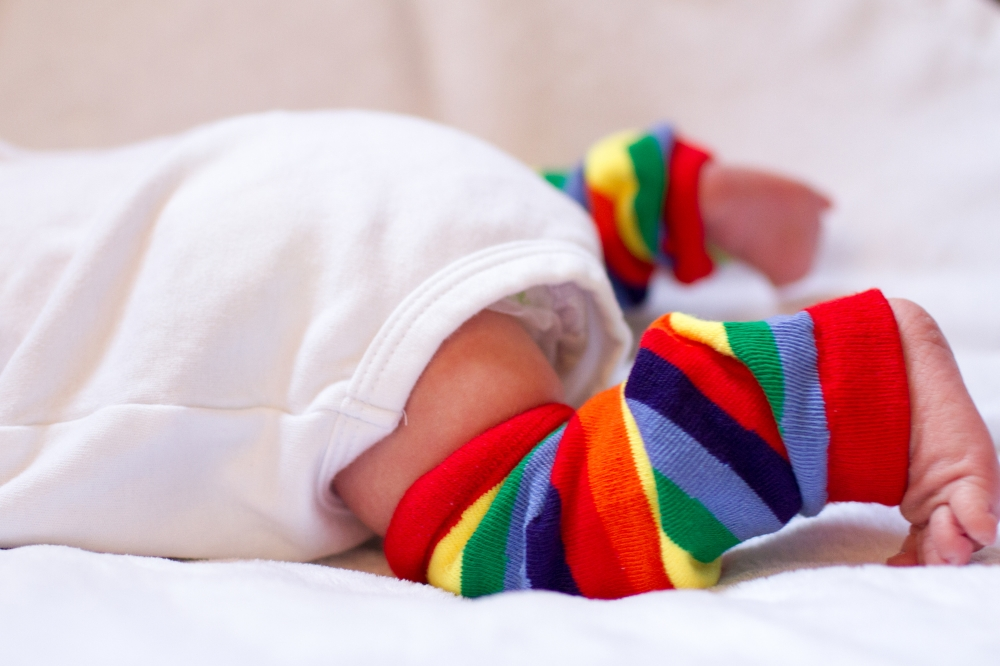 Newborn rainbow knee high socks
