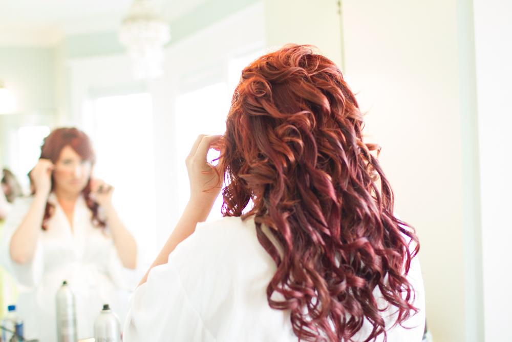 Redhead bridal hairstyle
