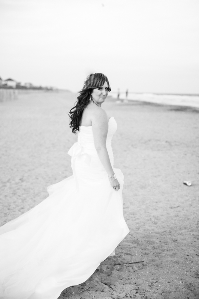Black and white bridal portrait