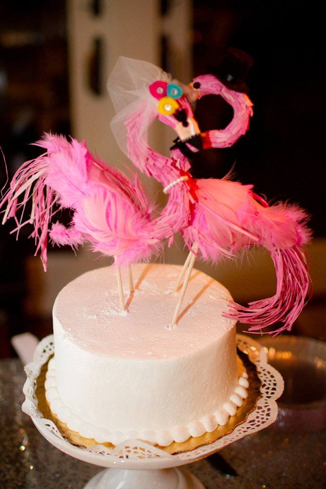 Pink flamingo wedding cake