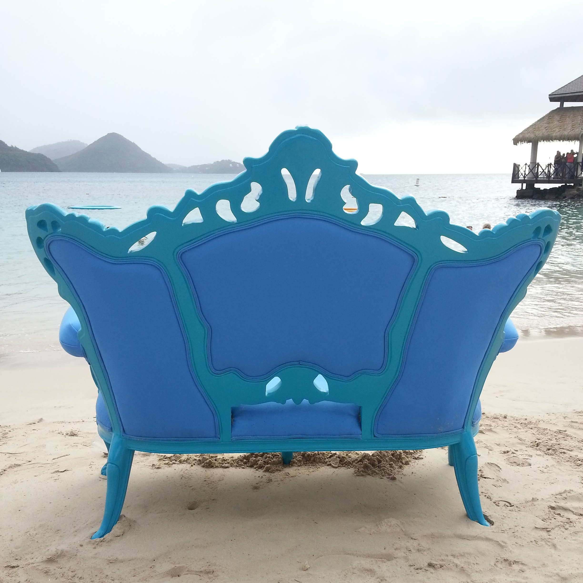 St. Lucia Sandels Resort blue chair  | Lorin Marie Photography