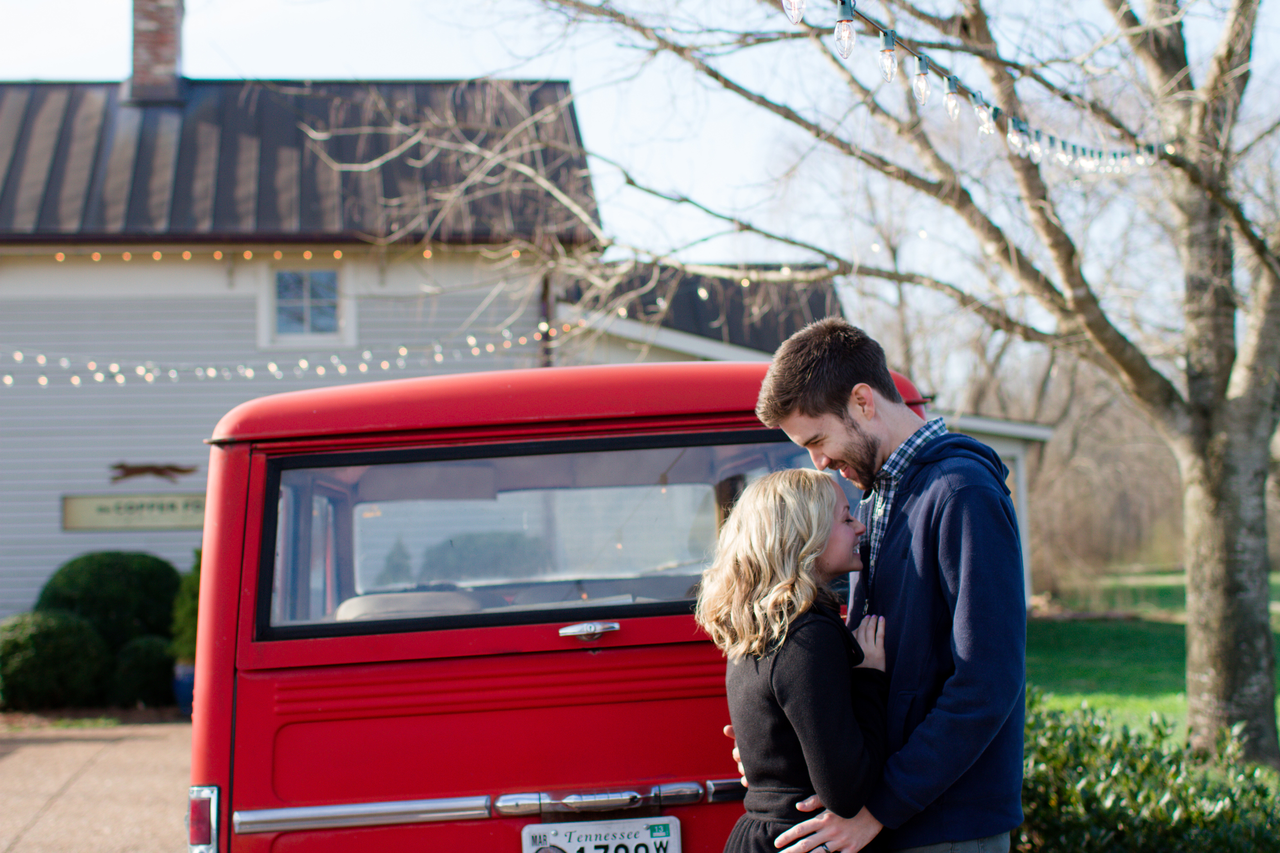 Kissing near vintage truck