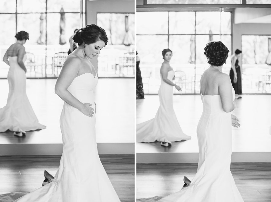 black and white bride putting on dress