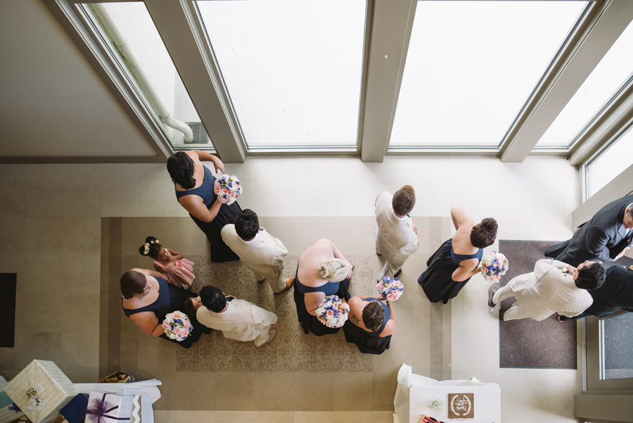 overhead view of bridal party