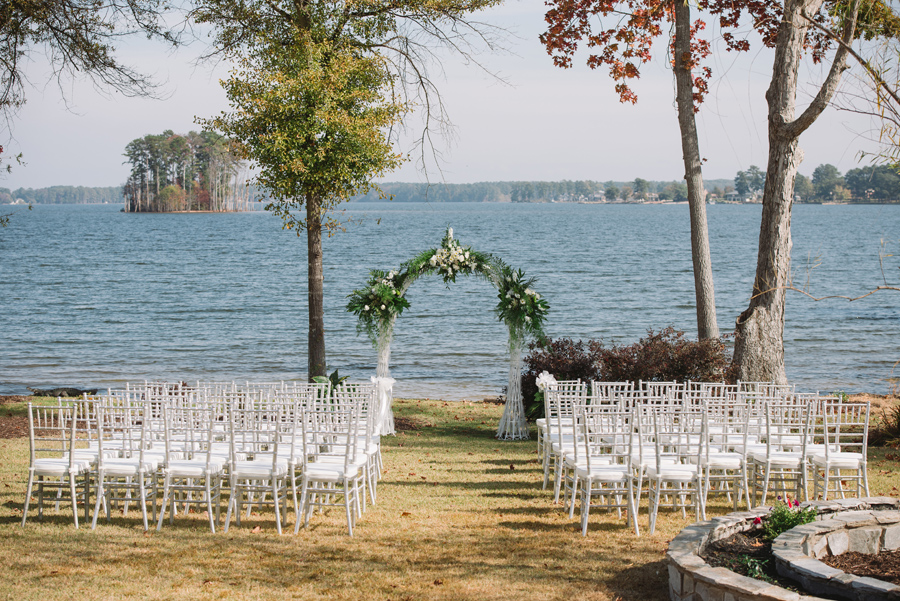 lakeside wedding arbor