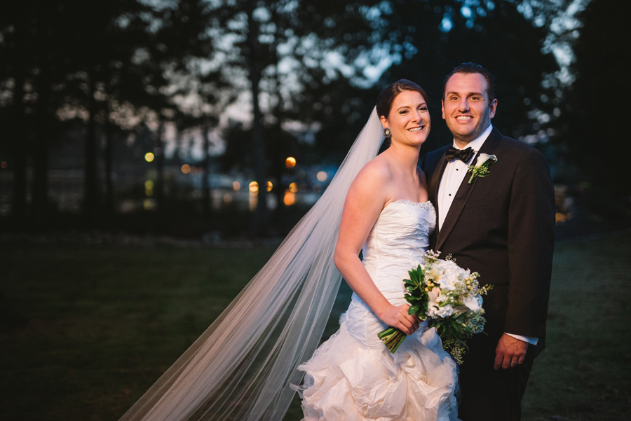 bride and groom nighttime portraits