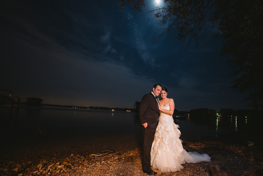 bride and groom lake full moon