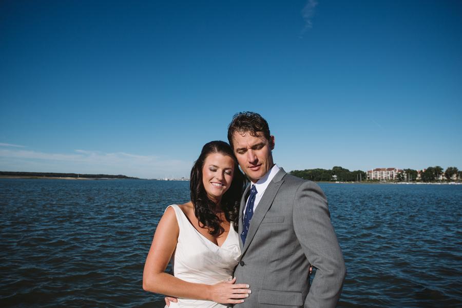 bride groom blue sky