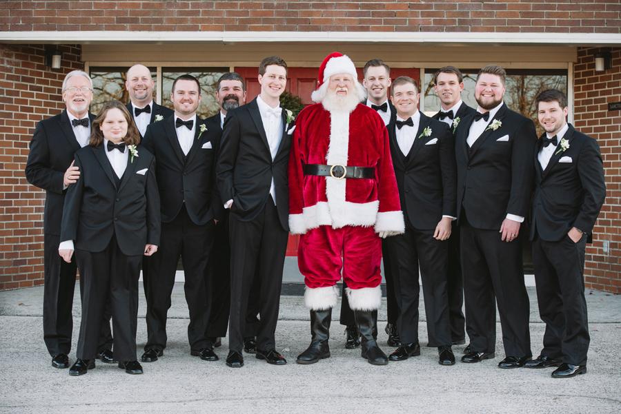 groomsmen with santa