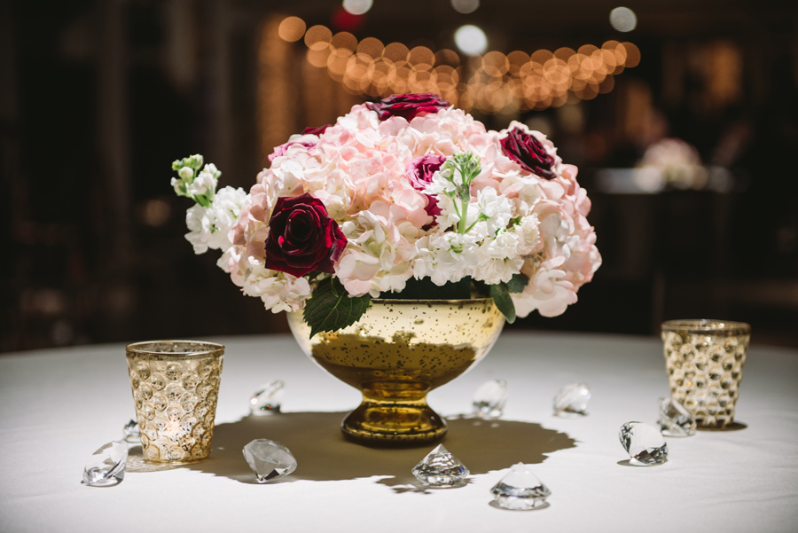 gold and blush arrangements