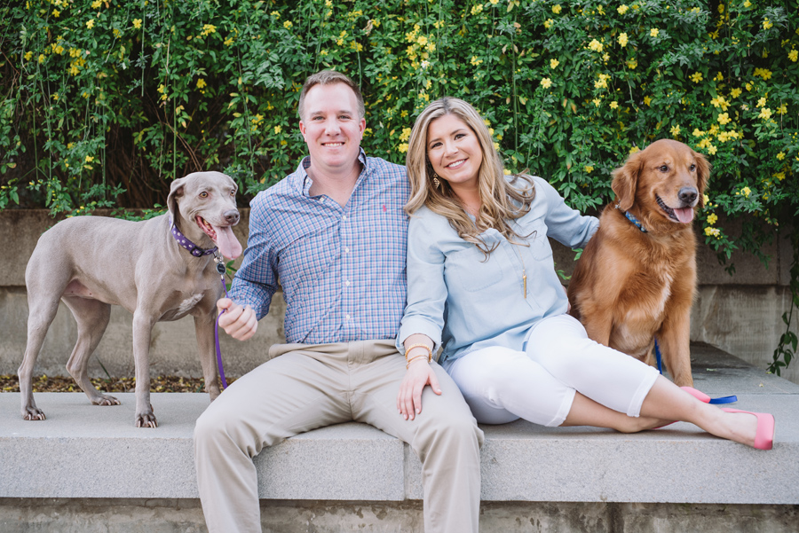 state house engagement session with dogs