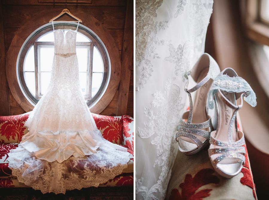 bride dress in window