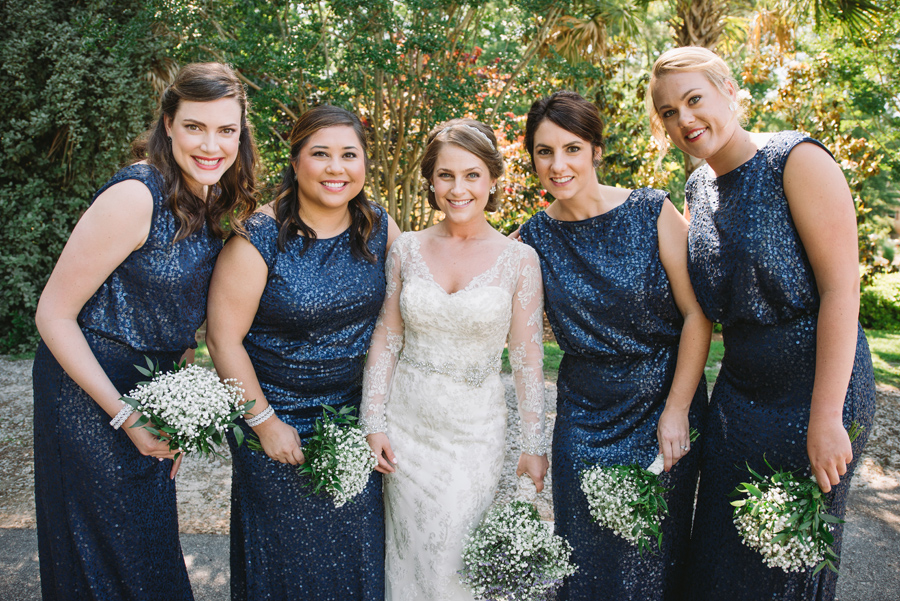 bridesmaids navy sequins