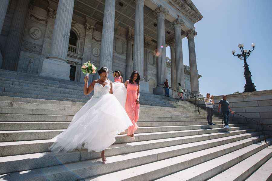 bride on state house steps