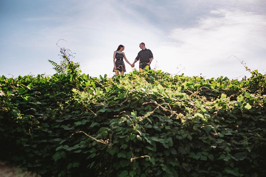 leaves vines engagement session