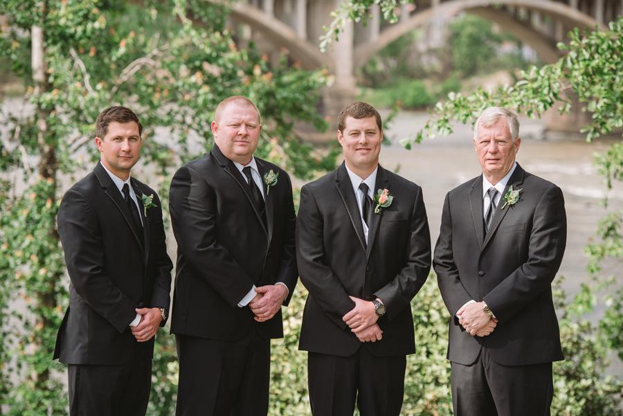groom and groomsmen gervais street bridge