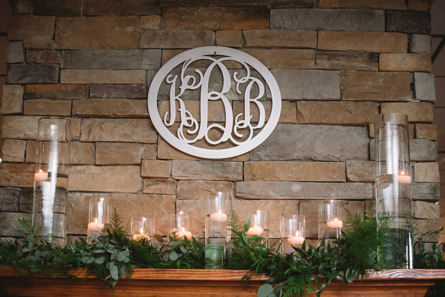 monogram over fireplace