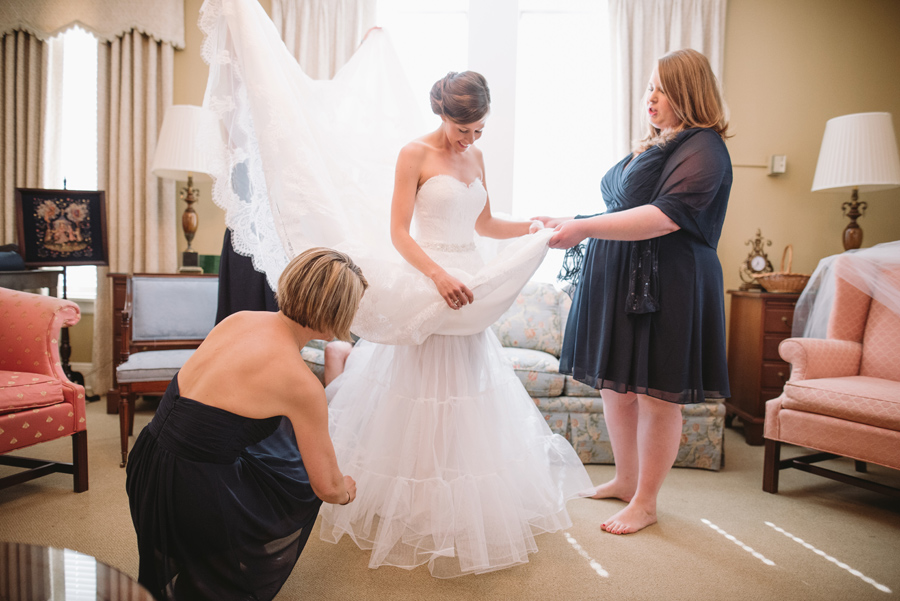 bride and family getting dressed