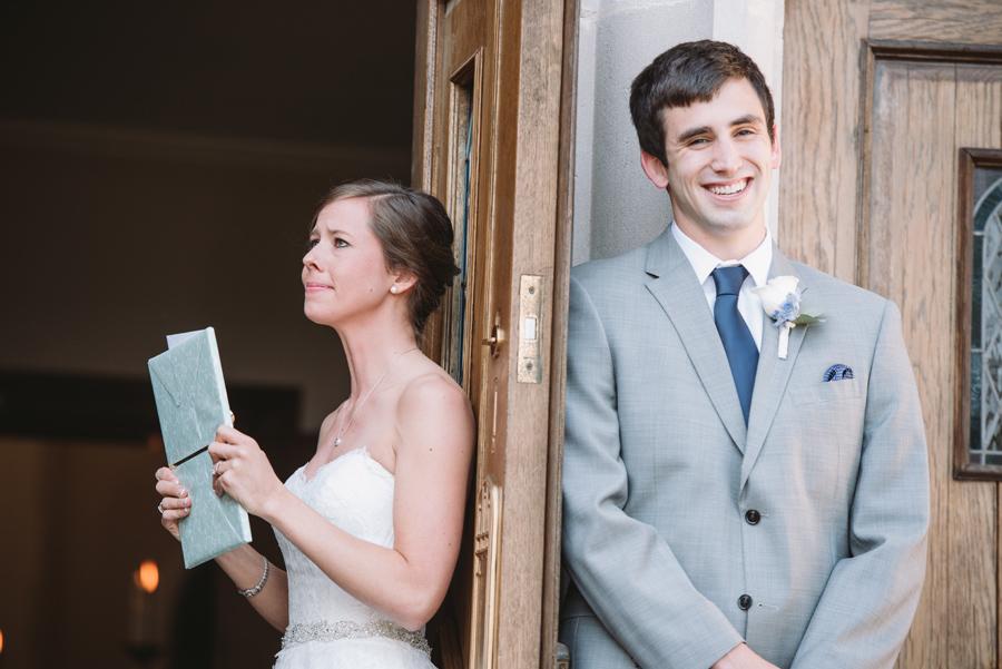 bride groom exchanging letters