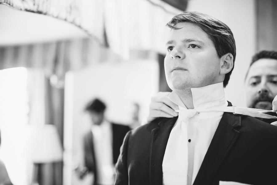 black and white tying tie
