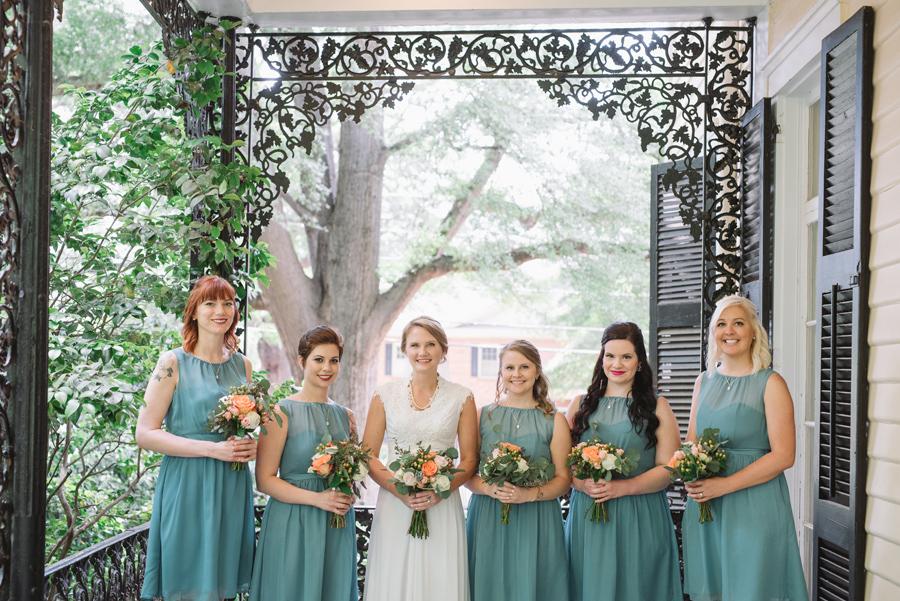 bride and bridesmaids lace house porch
